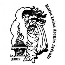EX LIBRIS WOMAN WITH FLAME
