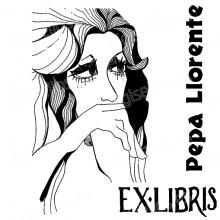 Ex Libris femme aux cheveux longs