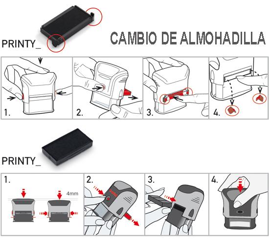 Imagen explicativa qie informa acerca de el cambio de almohadilla en sellos Trodat